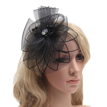 1 pcs/lot Fascinator Women French Veiling Hair Headband with Clip Vintage Fashion Lady Party Accessories 9 colors Free shipping