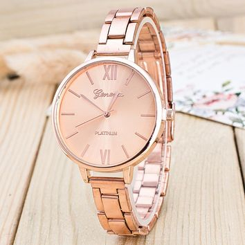 Women Fashion Watches Stainless Steel Band Analog Quartz Wrist Watch Rose Gold/Silver Alloy Clock Ladies Luxury Casual Watch