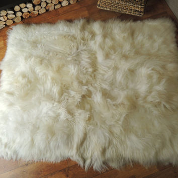 Genuine Rare Breed Icelandic Sheepskin Rug - Square - Rectangular - Natural Creamy White Colour