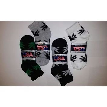 Leaf Print Ankle Socks 3-Pack - Size 10-13
