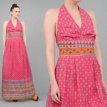 Surjit & Adarsh 70s Pink India Halter Dress Sheer Cotton Gauze Halter Maxi Dress 1970s Ethnic Floral Boho Hippie Dress Small Medium S M