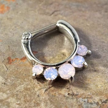 14 Gauge Pink Opalite Crystal Septum Ring Clicker Daith Ring Nose Piercing