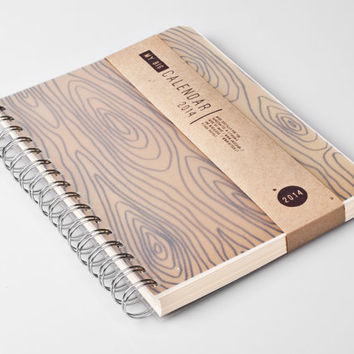 2014 Weekly Planner Calendar Diary Day Agenda A5 Wood Rustic For him Day Planner - Great Valentine's Day Gift Idea