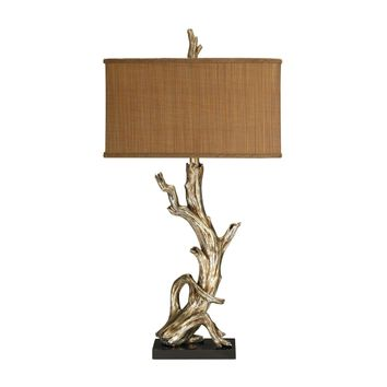 Driftwood Table Lamp in Silver Leaf Silver Leaf