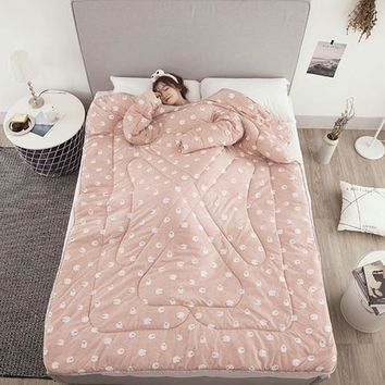Blanket  Lazy Quilt with Sleeves Creative Cartoon Print