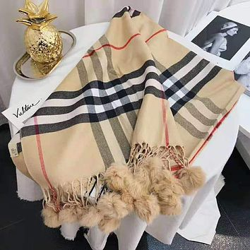 Burberry Winter Trending Women Men Cute Tassel Small Ball Cashmere Cape Scarf Scarves Shawl Accessories