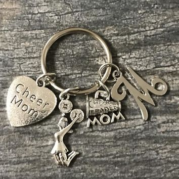 Personalized Cheer Mom Keychain with Letter Charm