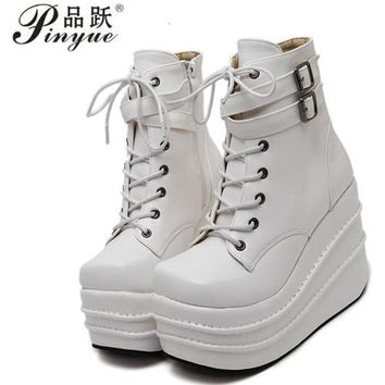 Size 35-42 Botas Mujer Plataforma 2018 Winter Womens Boots Punk Style White Wedge High Heel Boots Lace Up Wedge Platform Boots