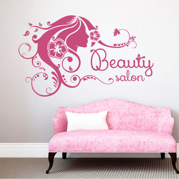 Wall Decal Fashion Beauty Salon Face Girl Woman Long Hair Design Vinyl Decals Wedding Hair Salon Hairdressing Living Room Home Decor 3770