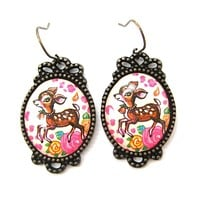 Bambi Deer Doe Illustrated Resin Dangle Earrings with Floral Details | Animal Jewelry