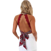 Backless Women Crop Top Elegant  Halter Neck Sleeveless Cropped Short Shirt Tops Wine Red