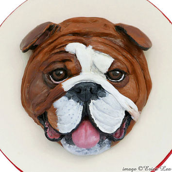 English Bulldog Polymer Clay Dog Original Animal Art Sculpture on Wood Keepsake Box Bulldog Lover Gift