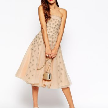 ASOS RED CARPET Mesh Bandeau Dress with Diamond Sparkles