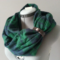 Plaid Green Navy Checkered Flannel Infinity Scarf