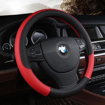 Universal Anti-Slip Steering Wheel Cover PU Leather Styling Auto Sport
