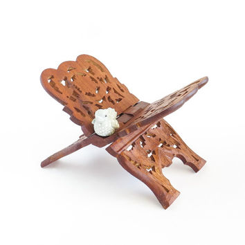 Carved Wood Book Holder Rack INDIA