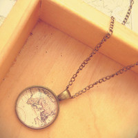 Vintage Antique Brass World Map Long Necklace - Free Shipping - Made to order :)