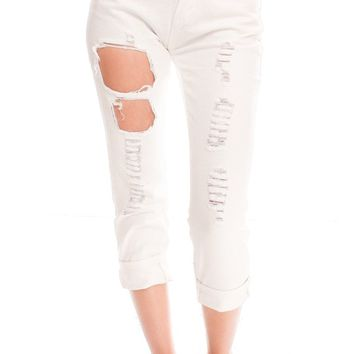 WHITE CUTOUT LOOK FRONT REAR POCKETS CASUAL JEANS