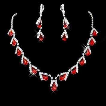 Gorgeous Lady's necklace and earrings Set Alloy Silver Red Rhinestone Wedding Bridal Jewelry Set Necklace = 1932760708