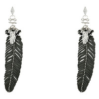 Rebecca Minkoff Leather Feather Drop Earrings Imitation Rhodium/Crystal Lab - Zappos.com Free Shipping BOTH Ways
