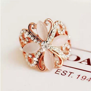 Shiny Gift New Arrival Jewelry Stylish Korean Star Accessory Butterfly Crystal Cats Ring [6586123207]