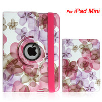 Fascinating Flower Style Leather Cover Stand for iPad Mini in Purple