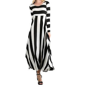 Long Sleeve Striped Fit and Flare Maxi Dress, Size Small - XLarge