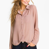 Frenchi® Sheer Chiffon Shirt (Juniors) | Nordstrom
