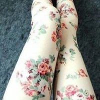 Cute Rose Pattern Leggings for Women