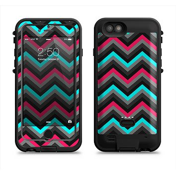 The Sharp Pink & Teal Chevron Pattern Apple iPhone 6/6s LifeProof Fre POWER Case Skin Set
