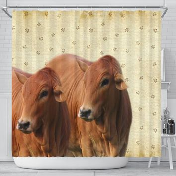 Cute Boran cattle (cow) Print Shower Curtain-Free Shipping