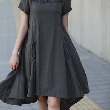 Interesting Square Neckline Linen Dress by NewExtrave on Etsy