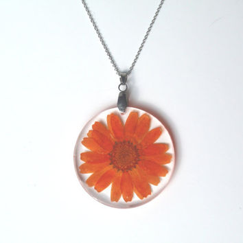 Handmade Flower Resin Pendant  - Real Pressed Flower Encased in eco Resin,  Botanical Necklace,Flower Jewelry, Orange Chrysanthemum