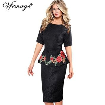 Vfemage Womens Elegant Vintage Dobby Fabric Peplum Casual Party Mother of Bride Evening Bodycon Floral Embroidery Dress 3938