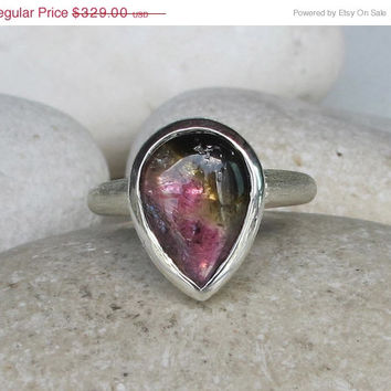 Sale Pink Green Tourmaline Ring- Pear Shaped Ring- Unique Engagement Ring- Gemstone Promise Ring- Statement Ring- Birthstone Ring- Solitaire