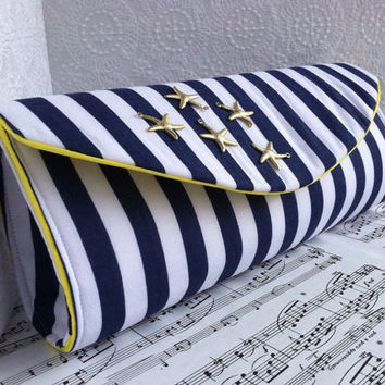 Blue and white striped nautical clutch purse with gold starfish