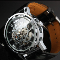 Steampunk Mens gear watch,  Silver with black synthetic leather band.  Very elegant.