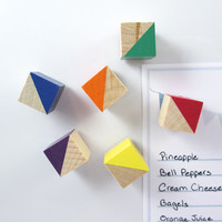 12 Wood Magnets - Rainbow Magnets - Geometric Magnets - Refrigerator Magnets