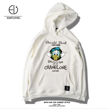 Winter new men 's tide brand sweater hooded loose head plus velvet thick cotton Mickey cartoon printing Donald Duck