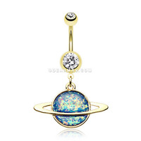 Golden Opal Galaxy Planet Belly Button Ring (Clear/Blue)