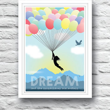 Nursery Poster, Baby, Wall Decor, Inspirational poster, wall quote, DREAM poster, Christening gift