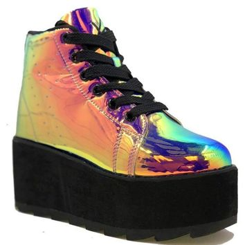 YRU Lala Hi- Pink Atlantis Platform Rave Shoes