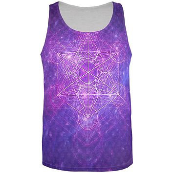 Sacred Geometry Metatron Cube Map of Creation All Over Mens Tank Top