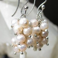 Faceted Pink Pearl Cluster Earrings, White Coral, Sterling Silver | bohowirewrapped - Jewelry on ArtFire