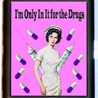 Nurse Retro Humor Parody Im Only In It for the Drugs Pills Hypos Rockabilly Cigarette Case Business Card Case or Wallet