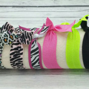 Set of 10 animal print colored fold over elastic hair ties, creaseless pony tail holders, pony-tail, accessories, foe, bracelet