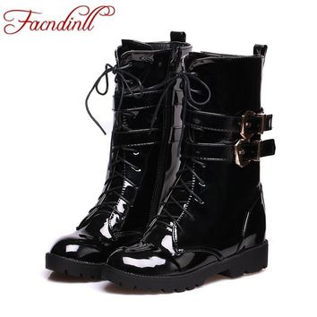 FACNDINLL High quality autumn winter womens patent leather lace up flat heels buckle combat motocycle ankle boots casual shoes