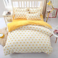 Simple style king-full kids bed linen bedding set Cotton bedclothes duvet cover flat sheet pillow case-comforte set