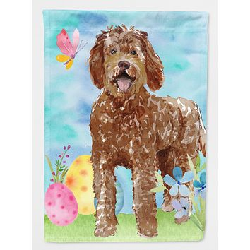 Easter Eggs Labradoodle Flag Canvas House Size CK1911CHF