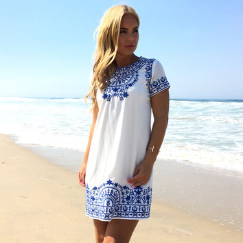 Free Your Soul Embroidered Shift Dress